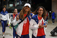 JACKSONVILLE, FL - NOVEMBER 10: Jessica McDonald #22 and Lynn Williams #27 of the United States inter the stadium during a game between Costa Rica and USWNT at TIAA Bank Field on November 10, 2019 in Jacksonville, Florida.