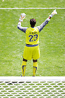 LA Sol's goalkeeper Karina LeBlanc gestures to her team. The Boston Breakers and LA Sol played to a 0-0 draw at Home Depot Center stadium in Carson, California on Sunday May 10, 2009.   .