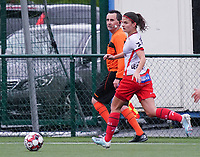 Essevee's Amber De Priester (6) with the ball during a female soccer game between the women teams of Zulte Waregem A Dames and KRC Genk Ladies B on the 1/16 th qualifying round for the Belgian Womens Cup 2020  2021 , on saturday 26 th of September 2020  in Zulte , Belgium . PHOTO SPORTPIX.BE | SPP | SEVIL OKTEM