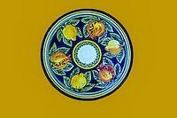 Ceramics, Nabeul, Tunisia.  Hand-painted Dinner Plate, by Ceramic Artist Lotfi Zine.