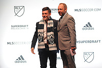 Philadelphia, PA - Thursday January 19, 2018: J. Todd Durbin, Lucas Stauffer during the 2018 MLS SuperDraft at the Pennsylvania Convention Center.