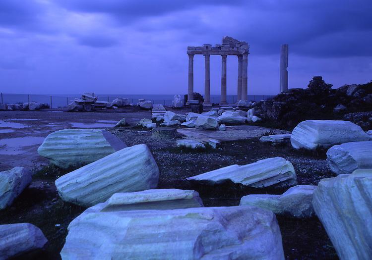 Asia, TUR, Turkey, Mediteran, Side, Apollon Temple in evening light