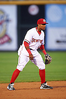Harrisburg Senators shortstop Wilmer Difo (6) during a game against the New Hampshire Fisher Cats on June 2, 2016 at FNB Field in Harrisburg, Pennsylvania.  New Hampshire defeated Harrisburg 2-1.  (Mike Janes/Four Seam Images)