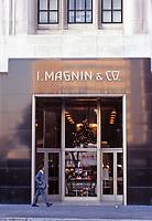 Los Angeles:  I. Magnin & Co. All marble building designed by architect Myron Hunt. Steel entrance. 1939.