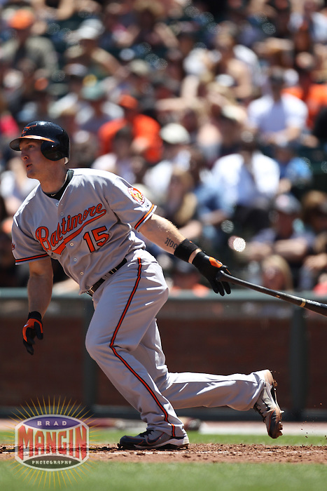 SAN FRANCISCO - JUNE 16:  Craig Tatum #15 of the Baltimore Orioles bats against the San Francisco Giants during the game at AT&T Park on June 16, 2010 in San Francisco, California. Photo by Brad Mangin