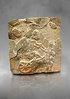 Pictures & images of the North Gate Hittite sculpture stele depicting a Hittite chariot. 8th century BC. Karatepe Aslantas Open-Air Museum (Karatepe-Aslantaş Açık Hava Müzesi), Osmaniye Province, Turkey. Against grey art background