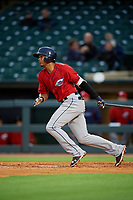 Columbus Clippers second baseman Erik Gonzalez (9) bats during a game against the Louisville Bats on May 1, 2017 at Louisville Slugger Field in Louisville, Kentucky.  Columbus defeated Louisville 6-1  (Mike Janes/Four Seam Images)