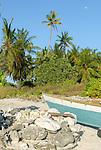 The bough of a traditional canoe on the beach in Kiritimati in Kiribati