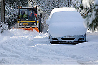 Pictured: A small snow plough clears snow in the Ekali area of Athens, Greece. Tuesday 08 January 2018<br /> Re: Heavy snowfall has affected most parts of Greece.
