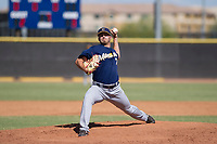 Milwaukee Brewers pitcher Cody Beckman (75) delivers a pitch to the plate during an Instructional League game against the San Diego Padres on September 27, 2017 at Peoria Sports Complex in Peoria, Arizona. (Zachary Lucy/Four Seam Images)