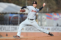 Delmarva Shorebirds starting pitcher Mitch Horacek #27 delivers a pitch during a game against the  Asheville Tourists at McCormick Field on April 5, 2014 in Asheville, North Carolina. The Tourists defeated the Shorebirds 5-3. (Tony Farlow/Four Seam Images)