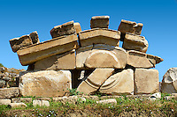 Pediment of the 2-1 cent.B.C Propylon gateway connecting the sanctuary of Artimis with the Agora, Magnesia on the Meander arcaeological site, Turkey
