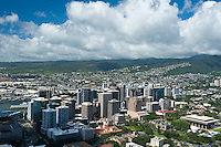 Downtown Honolulu with state capital  and mountains