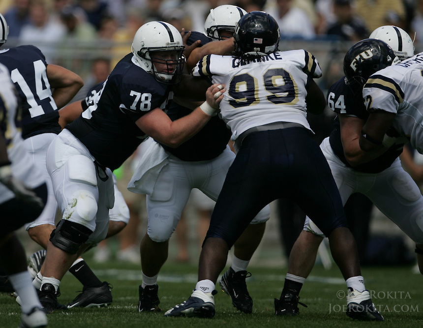 State College, PA -- 09/1/2007 -- Penn State offensive tackle John Shaw (78), from Spring Grove, PA, blocks Golden Panther defensive lineman Clarke Roland (99) during the home opener vs. Florida International University on Saturday, September 1, 2007, at Beaver Stadium.  Penn State defeated the Golden Panthers by a score of 59-0.  Photo:  Joe Rokita / JoeRokita.com.