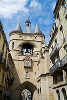 La Grosse Cloche, an old belfry and one of two 15th century remaining gates along the medieval walls of Bordeaux, France.