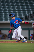 AZL Cubs 2 designated hitter Levi Jordan (4) starts down the first base line during an Arizona League game against the AZL Rangers at Sloan Park on July 7, 2018 in Mesa, Arizona. AZL Rangers defeated AZL Cubs 2 11-2. (Zachary Lucy/Four Seam Images)