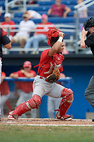 Williamsport Crosscutters catcher Rodolfo Duran (19) tracks down a passed ball during the first game of a doubleheader against the Batavia Muckdogs on August 20, 2017 at Dwyer Stadium in Batavia, New York.  Batavia defeated Williamsport 6-5.  (Mike Janes/Four Seam Images)