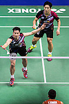Solgyu Choi and Sung Hyun Ko of South Korea compete against Takeshi Kamura and Keigo Sonoda of Japan during the Men's Doubles' Quarter-final match of the YONEX-SUNRISE Hong Kong Open Badminton Championships 2016 at the Hong Kong Coliseum on 25 November 2016 in Hong Kong, China. Photo by Marcio Rodrigo Machado / Power Sport Images