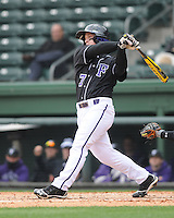 Third baseman Chris Ohmstede (7) of the Furman University Paladins in a game against the Northwestern Wildcats on Saturday, February 16, 2013, at Fluor Field in Greenville, South Carolina. The game was cancelled in the fifth inning due to snow. (Tom Priddy/Four Seam Images)