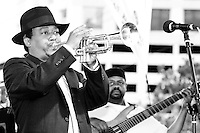 Kermit Ruffins plays a special free concert for the people at Woldenberg Park in downtown New Orleans on November 26, 2005.  Kermit, one of the founders of Rebirth Brass Band and now leader of his own quintet the Barbecue Swingers, is a local institution.