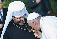 Pope Francis, is welcomed by Greek Catholic Archbishop Sviatoslav Shevchuk during his visit to the Basilica of Santa Sofia and to the Ukrainian greek-catholic community, in Rome January 28, 2018.<br /> <br /> UPDATE IMAGES PRESS/Riccardo De Luca<br /> <br /> STRICTLY ONLY FOR EDITORIAL USE
