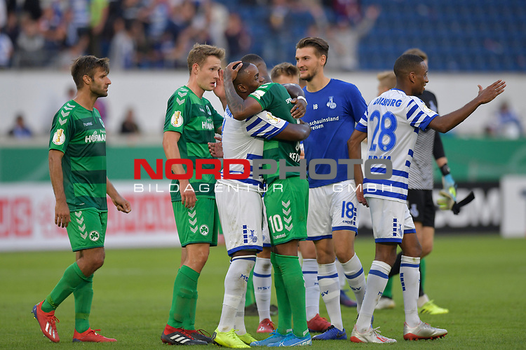 11.08.2019 , Schauinsland-Reisen Arena, Duisburg, DFB Pokal<br /> <br /> DFB REGULATIONS PROHIBIT ANY USE OF PHOTOGRAPHS AS IMAGE SEQUENCES AND/OR QUASI-VIDEO.<br /> <br /> im Bild / picture shows Leroy-Jacques Mickels ( MSV Duisburg #20 ) und Daniel Keita-Ruel ( Greuther Fuerth #10 ) nach dem Spiel.<br /> <br /> Foto © nordphoto / Freund