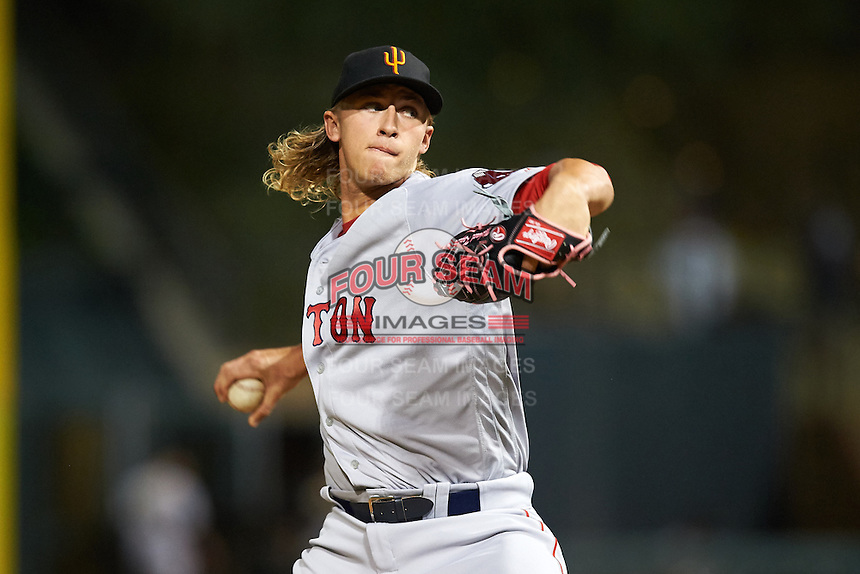 Surprise Saguaros pitcher Michael Kopech (50), of the Boston Red Sox organization, during a game against the Salt River Rafters on October 21, 2016 at Salt River Fields at Talking Stick in Scottsdale, Arizona.  Salt River defeated Surprise 3-2.  (Mike Janes/Four Seam Images)