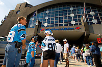 09/16/07 :  Fans begin to fill the stands of  Bank of America stadium before the start of a Carolina Panthers' game. ...The Carolina Panthers, professional American NFL football team that represents both North Carolina and South Carolina, is based in Charlotte, North Carolina. The Panthers began playing in 1995 as part of the National Football League?s expansion program. They are members of the National Football Conference (NFC) South Division. They play in the Bank of America Stadium, located in downtown Charlotte.