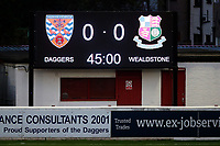 The scoreboard indicates no goals in the first half during Dagenham & Redbridge vs Wealdstone, Vanarama National League Football at the Chigwell Construction Stadium on 10th October 2020