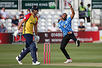 Chris Jordan in bowling action for Sussex during Essex Eagles vs Sussex Sharks, Vitality Blast T20 Cricket at The Cloudfm County Ground on 15th June 2021