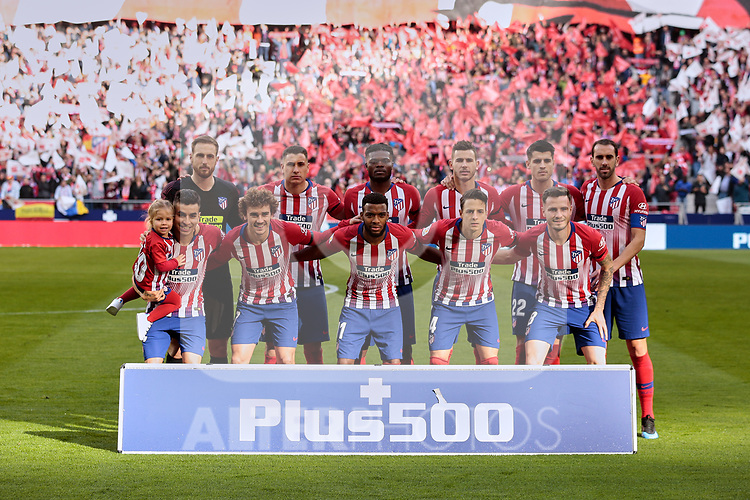 Atletico de Madrid's team photo during La Liga match between Atletico de Madrid and Real Madrid at Wanda Metropolitano Stadium in Madrid, Spain. February 09, 2019. (ALTERPHOTOS/A. Perez Meca)