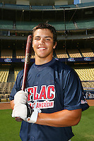 August 9 2008: Jonathan Walsh participates in the Aflac All American baseball game for incoming high school seniors at Dodger Stadium in Los Angeles,CA.  Photo by Larry Goren/Four Seam Images