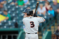 Cadyn Grenier (3) of the Delmarva Shorebirds at bat against the Greensboro Grasshoppers at First National Bank Field on August 26, 2018 in Greensboro, North Carolina. The Shorebirds defeated the Grasshoppers 6-4. (Brian Westerholt/Four Seam Images)