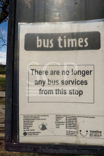 """Kings Cliffe, Northamptonshire, England. Bus stop sign """" There are no bus services from this stop."""""""