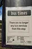 "Kings Cliffe, Northamptonshire, England. Bus stop sign "" There are no bus services from this stop."""
