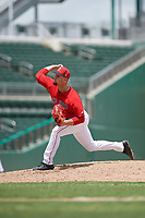 GCL Red Sox relief pitcher Nick Duron (70) delivers a pitch during a game against the GCL Orioles on August 9, 2018 at JetBlue Park in Fort Myers, Florida.  GCL Red Sox defeated GCL Orioles 10-4.  (Mike Janes/Four Seam Images)