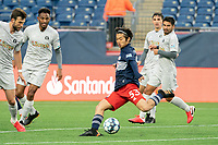 FOXBOROUGH, MA - APRIL 17: Hikaru Fujiwara #53 of New England Revolution II takes a shot at goal during a game between Richmond Kickers and Revolution II at Gillette Stadium on April 17, 2021 in Foxborough, Massachusetts.
