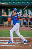 Marcus Chiu (13) of the Ogden Raptors follows through on a swing during a game against the Idaho Falls Chukars at Lindquist Field on August 29, 2018 in Ogden, Utah. Idaho Falls defeated Ogden 15-6. (Stephen Smith/Four Seam Images)