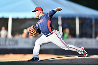Rome Braves starting pitcher Drew Harrington (34) delivers a pitch during a game against the Asheville Tourists at McCormick Field on June 5, 2018 in Asheville, North Carolina. The Tourists defeated the Braves 11-6. (Tony Farlow/Four Seam Images)