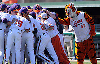 The Clemson Tiger gets in on the Clemson huddle prior to a game between the Clemson Tigers and USC Gamecocks on March 2, 2008, at Doug Kingsmore Stadium in Clemson.  Photo by: Tom Priddy/Four Seam Images