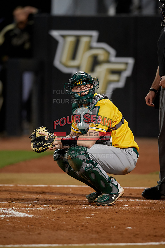 Siena Saints catcher Bryce Mordecki (31) during a game against the UCF Knights on February 14, 2020 at John Euliano Park in Orlando, Florida.  UCF defeated Siena 2-1.  (Mike Janes/Four Seam Images)