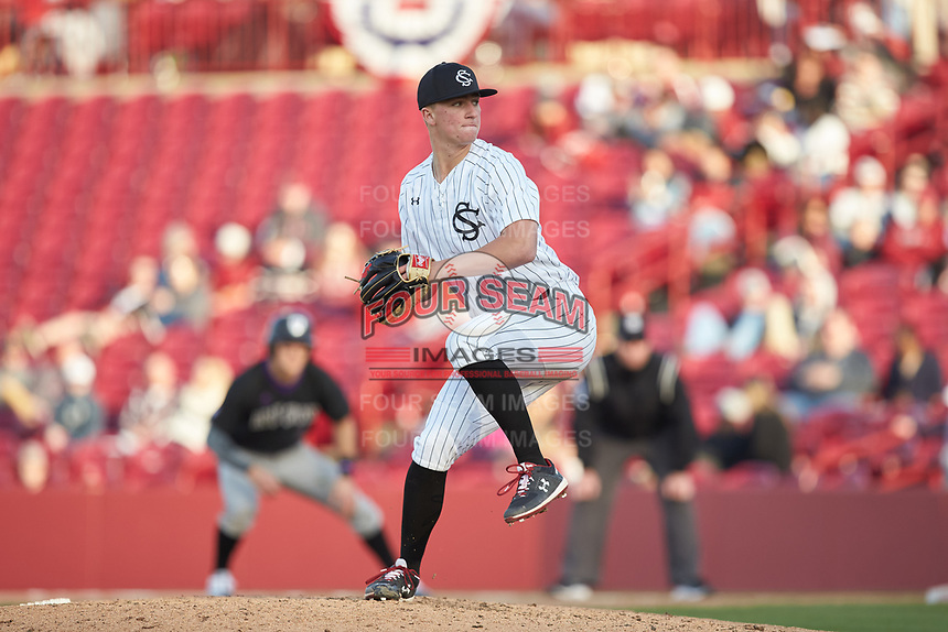 South Carolina Gamecocks relief pitcher Parker Coyne (44) in action against the Holy Cross Crusaders at Founders Park on February 15, 2020 in Columbia, South Carolina. The Gamecocks defeated the Crusaders 9-4.  (Brian Westerholt/Four Seam Images)