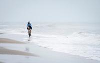 Wout van Aert (BEL/Jumbo-Visma) racing on the coastline<br /> <br /> UCI 2021 Cyclocross World Championships - Ostend, Belgium<br /> <br /> Elite Men's Race<br /> <br /> ©kramon