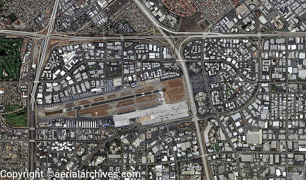 aerial map view above John Wayne Airport Orange County California