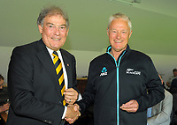 Gavin Larsen (right) with David Howman. Cricket Wellington membership badge presentations in the Long Room at the Basin Reserve in Wellington, New Zealand on Saturday, 14 November 2020. Photo: Dave Lintott / lintottphoto.co.nz