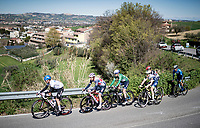 The breakaway group including eventual stage winner Mads Würtz Schmidt (DEN/Israel Start-Up Nation).<br /> <br /> Stage 6 from Castelraimondo to Lido di Fermo (169km)<br /> <br /> 56th Tirreno-Adriatico 2021 (2.UWT) <br /> <br /> ©kramon