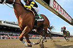 Pacific Ocean (no. 5), ridden by Joel Rosario and trained by Richard Dutrow Jr., wins the 5th running of the grade 3 James Marvin Stakes for three year olds and upward on July 20, 2012 at Saratoga Race Track in Saratoga Springs, New York.  (Bob Mayberger/Eclipse Sportswire)