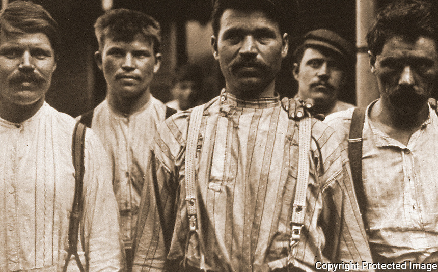 """Historical Views:  Lewis Hine Photograph """"Steelworkers at Russian Boarding House, Homestead PA, 1907/08"""".  Photo '78.  Reference only."""