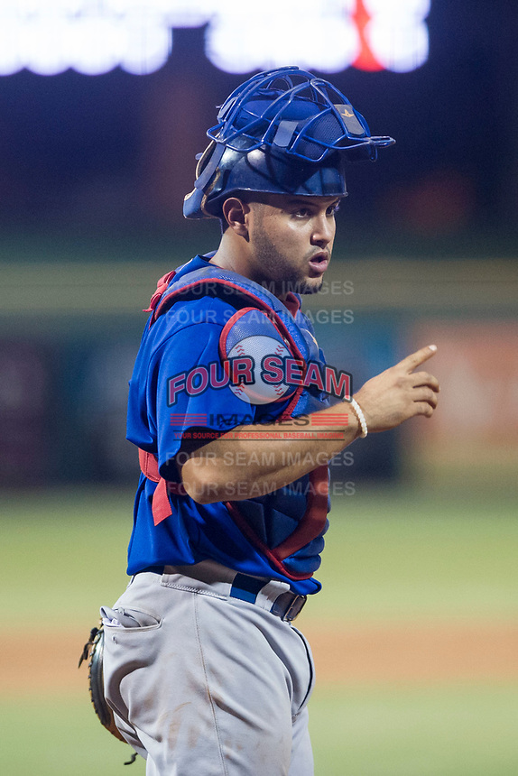 AZL Cubs catcher Richard Nunez (8) on defense against the AZL Giants on September 5, 2017 at Scottsdale Stadium in Scottsdale, Arizona. AZL Cubs defeated the AZL Giants 10-4 to take a 1-0 lead in the Arizona League Championship Series. (Zachary Lucy/Four Seam Images)
