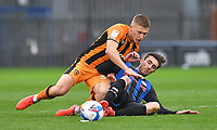 Hull City's Greg Docherty battles with Rochdale's Matthew Lund<br /> <br /> Photographer Dave Howarth/CameraSport<br /> <br /> The EFL Sky Bet League One - Rochdale v Hull City - Saturday 17th October 2020 - Spotland Stadium - Rochdale<br /> <br /> World Copyright © 2020 CameraSport. All rights reserved. 43 Linden Ave. Countesthorpe. Leicester. England. LE8 5PG - Tel: +44 (0) 116 277 4147 - admin@camerasport.com - www.camerasport.com